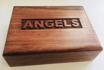 "CARVED 7.5x5.5"" ANGELS Jewellery Trinket Box"